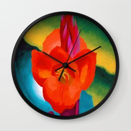 Red Canna Lilies Flower Still life Portrait Painting by Georgia O'Keeffe Wall Clock