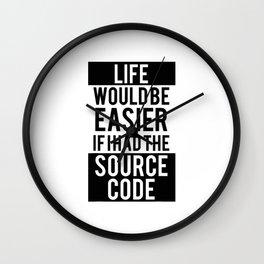 Funny Programmer T-Shirt - Life Easier Source Code Tee T-Shirt Wall Clock