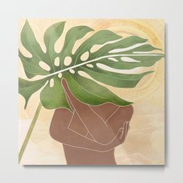 Woman with Monstera Leaf Metal Print