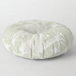 Floral, Rose, Vintage Print, Olive Green Floor Pillow