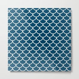 Blue fish scales pattern Metal Print