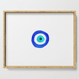 Single Evil Eye Amulet Talisman Ojo Nazar - on white Serving Tray