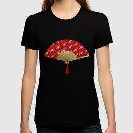 Art Deco Fan in a Butterfly Pattern, Deep Red T-shirt
