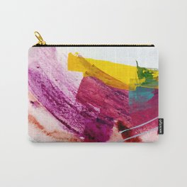 Pink Lemonade [2]: a minimal, colorful abstract mixed media with bold strokes of pinks, and yellow Carry-All Pouch