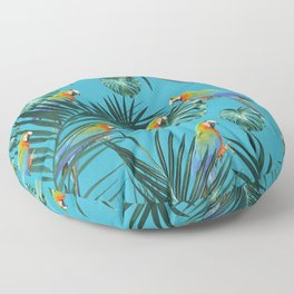 Parrots in the Tropical Jungle #2 #tropical #decor #art #society6 Floor Pillow