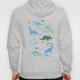 Dinosaurs in Space in Blue Hoodie