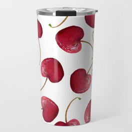 Watercolor Cherry Bomb On White Travel Mug