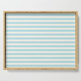 Seafoam Blue Linen Seashell Stripe Serving Tray
