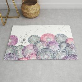 Dandelions, pink flower geometric watercolor Rug