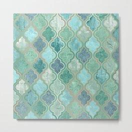 Bohemian Home Decor, Morocco Art, Teal, Green and Blue Metal Print