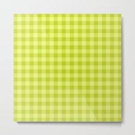 Gingham Pattern - Lime Green Metal Print