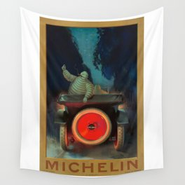 1921 Michelin Tires French Advertising Poster Wall Tapestry