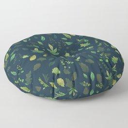 Green Leaves on Blue Floor Pillow