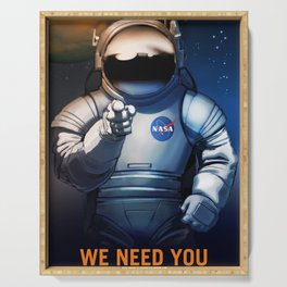 NASA Wants You Vintage Poster from 70s Moon Astronaut Artwork For Prints Posters Tshirts Bags Men Wo Serving Tray