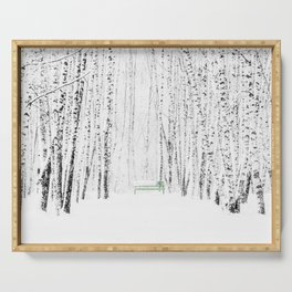 Green bench in white winter forest Serving Tray