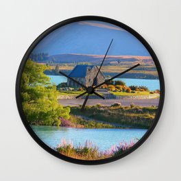 Tekapo Lake in New Zealand Landscape Wall Clock