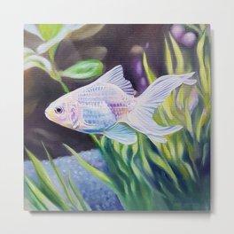 White Goldfish #2 - fish painting Metal Print