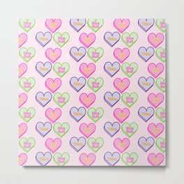 Self-Love Compliments Candy Hearts Metal Print