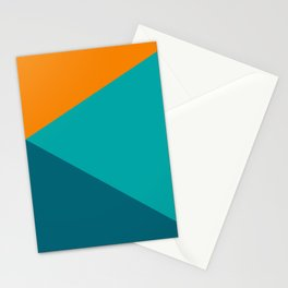 Jag - Minimalist Angled Geometric Color Block in Orange, Teal, and Turquoise Stationery Cards