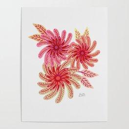 Pink Pinwheel flowers Poster