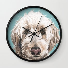 Sweet and Soulful Labradoodle Painting, Labradoodle Artwork, Portrait of a Champagne Labradoodle Wall Clock