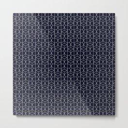 Mid Century Deco Line Floral Circle Print Black Metal Print