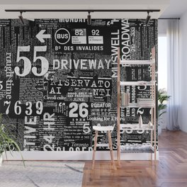 Black And White Grunge Text Wall Mural