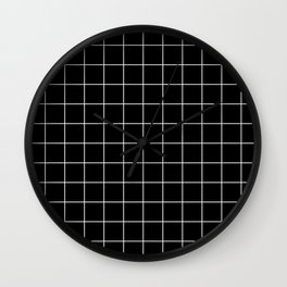 Grid Pattern Line Stripe Black and White Minimalist Geometric Stripes Lines Wall Clock
