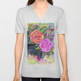painting roses makes me EUPHORIC! Unisex V-Neck