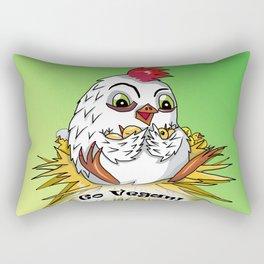 Mother hen and her chicks say go vegan Rectangular Pillow