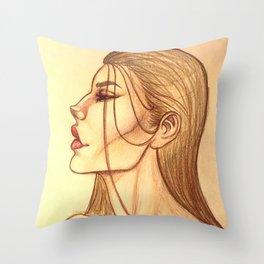 Brunette Side Profile Throw Pillow