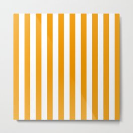 Vertical Stripes (Orange & White Pattern) Metal Print
