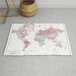 World Map Wall Art [Pink Hues] Rug