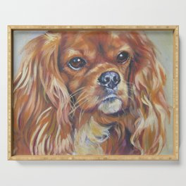 Beautiful Ruby Cavalier King Charles Spaniel Dog Painting by LA.Shepard Serving Tray