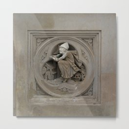 Halloween Witch on Broom 3d Stone Carving Photo Metal Print