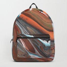 Geode Marble Brown Blue Fluid Modern Art Backpack