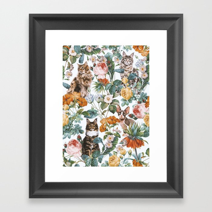 Cat and Floral Pattern III Gerahmter Kunstdruck