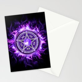 Purple Moon Pentagram Stationery Cards