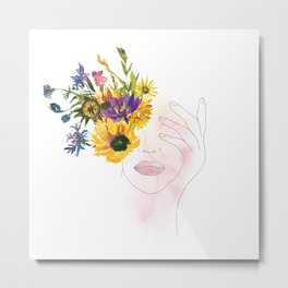 Minimal Line Art Drawing Girl With Summer Watercolor Flowers Bouquet Metal Print