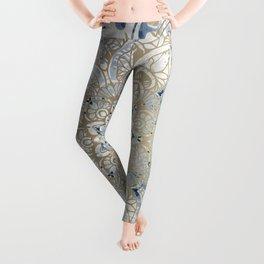 Yoga, Mandala, Blue and Gold, Wall Art Boho Leggings