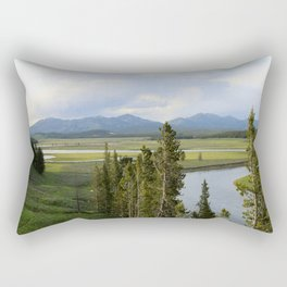 Yellowstone River Valley View Rectangular Pillow