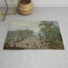 "Jan Brueghel The Elder ""A Jeu de Paume Before a Country Palace"" Rug"