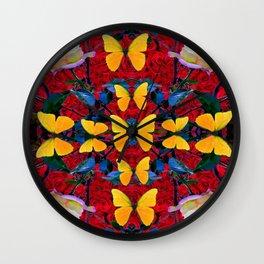 RED-WHITE ROSES & YELLOW BUTTERFLIES GARDEN Wall Clock