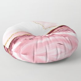 Pink And Gold Marble Waves Floor Pillow