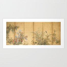 Japanese Edo Period Six-Panel Gold Leaf Screen - Spring and Autumn Flowers Kunstdrucke