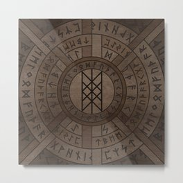 Web of Wyrd The Matrix of Fate- Wooden Texture Metal Print
