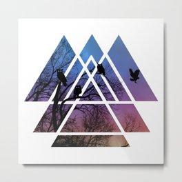 Night Wisdom - Sacred Geometry Triangels Metal Print