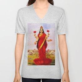 Lakshmi Kamala Devi Lotus Hindu Deity Unisex V-Neck