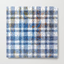 Distressed Blue and White Plaid Metal Print