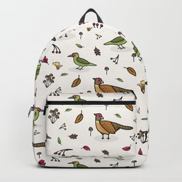 Cute woodpecker and pheasant cartoon pattern Backpack